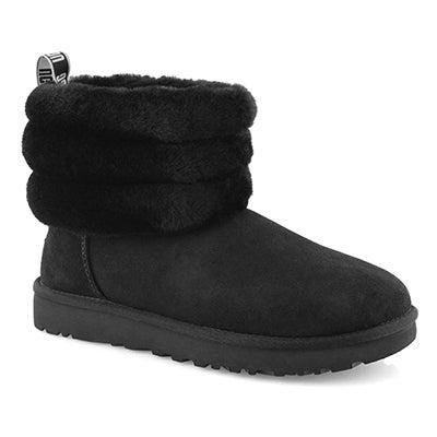 Women's FLUFF MINI QUILTED blk sheepskin boots