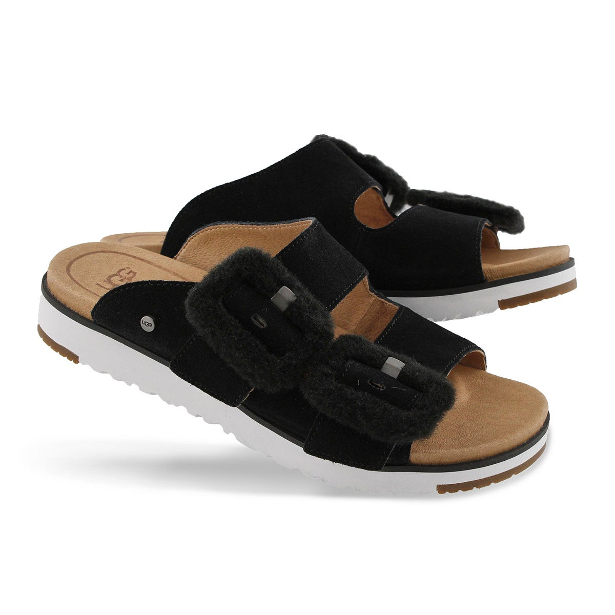 Women's FLUFF INDIO black casual slide sandals