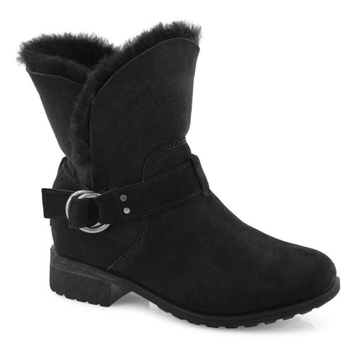 Lds Bodie black side buckle ankle boot