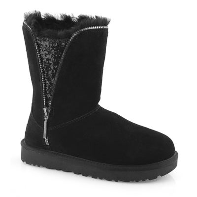 Lds Classic Zip black sheepskin boot