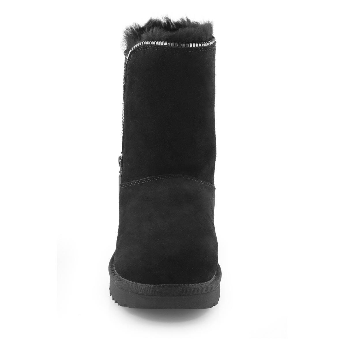 Bottes CLASSIC ZIP noires, laine de mouton, femmes