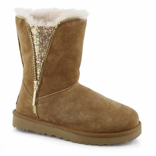 Lds Classic Zip chestnut sheepskin boot