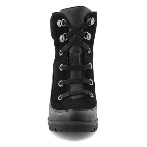 Lds Redwood blk lace up wtpf heel bootie