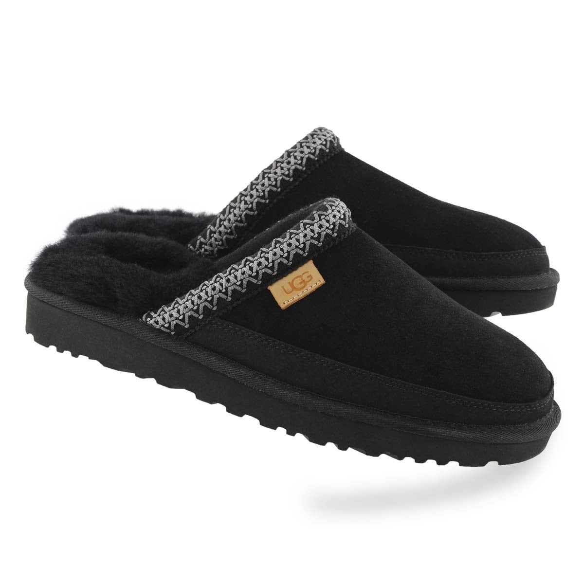 Mns Tasman blk shpskn open back slipper