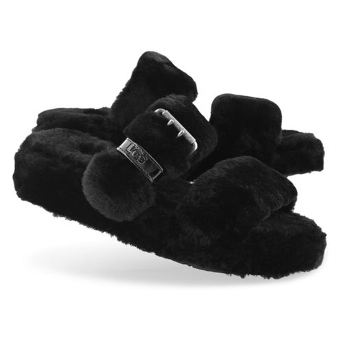 Lds Fuzz Yeah black sheepskin slipper