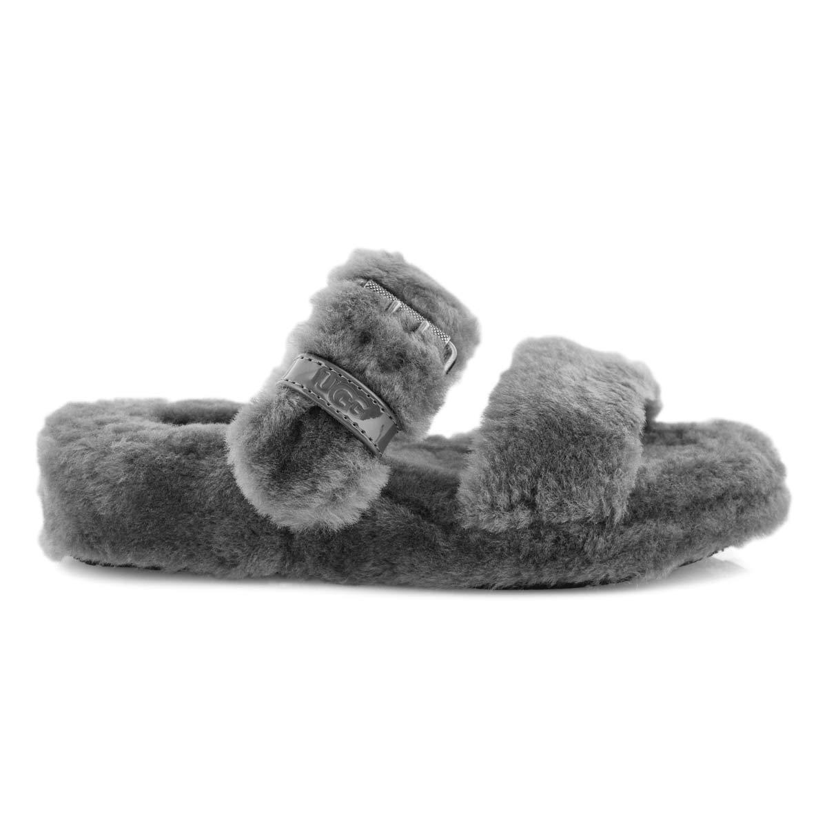 Lds Fuzz Yeah charcoal sheepskin slipper