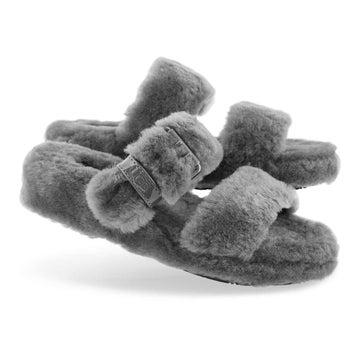 Women's FUZZ YEAH charcoal sheepskin slippers