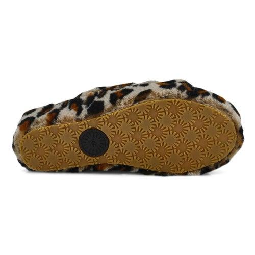 Lds Fluff Yeah leopard sheepskin slipper