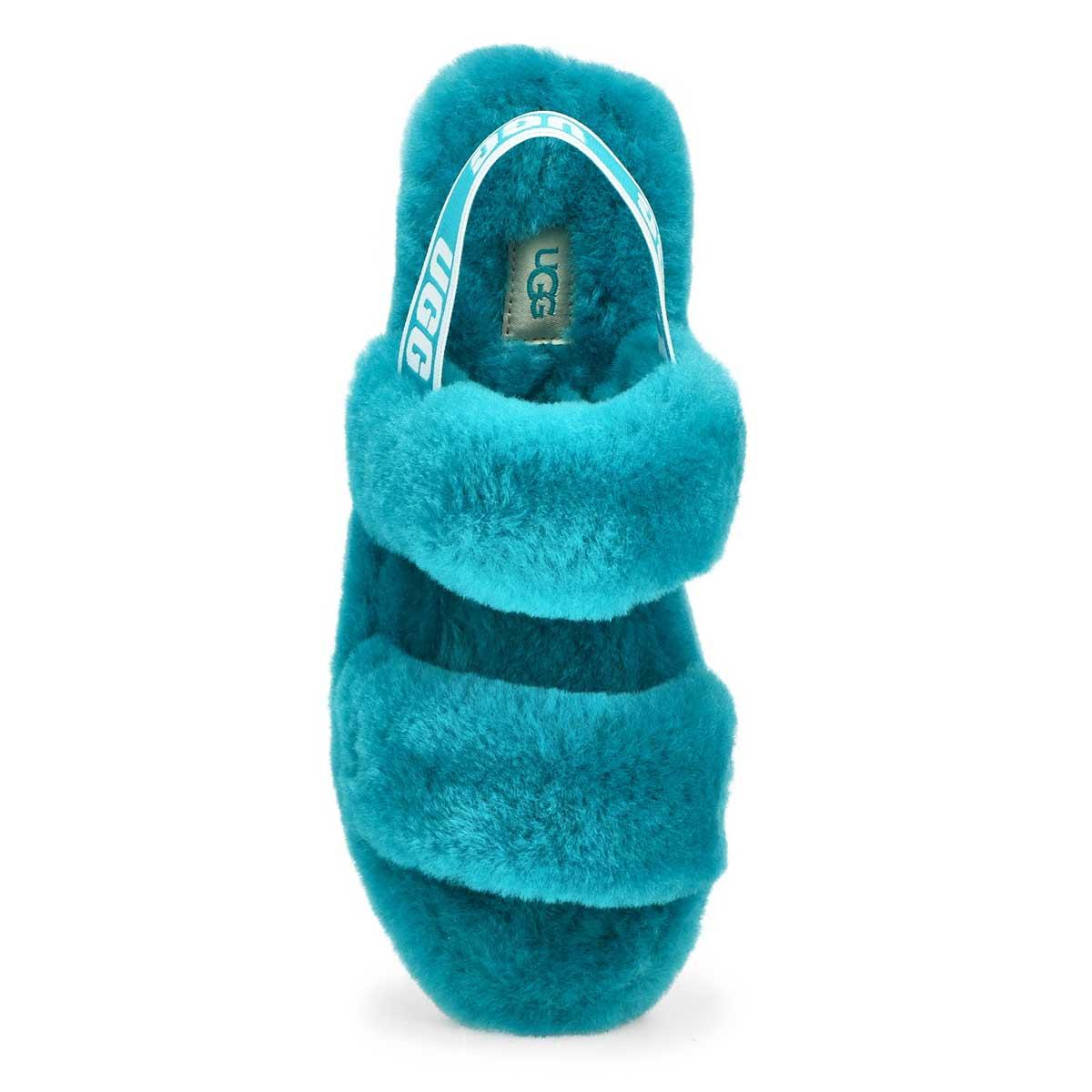 Pantoufle en peau de mouton OH YEAH, bleu aqua,fem