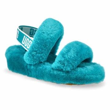Women's Oh Yeah Sheepskin Slipper - Aquatic Blue