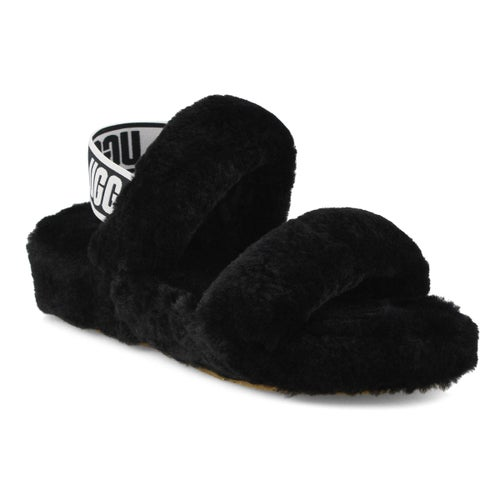 Lds Oh Yeah black sheepskin slipper