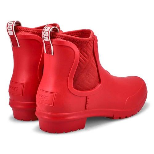 Lds Chevonne red chelsea rain boot