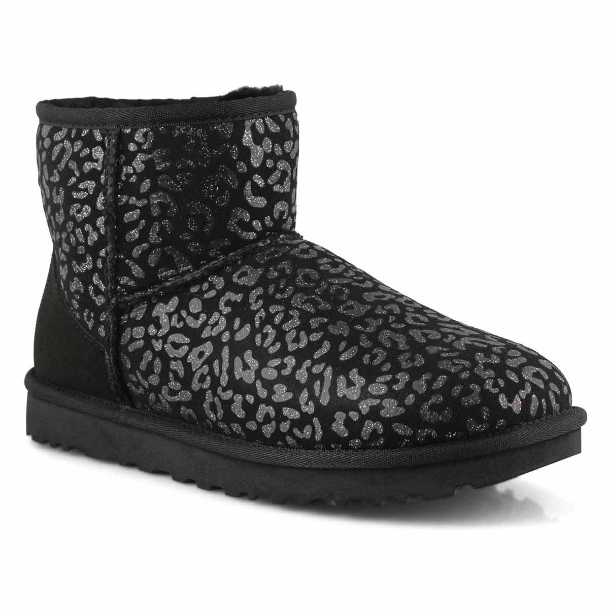 Women's Classic Mini Snow Leopard Boot - Black