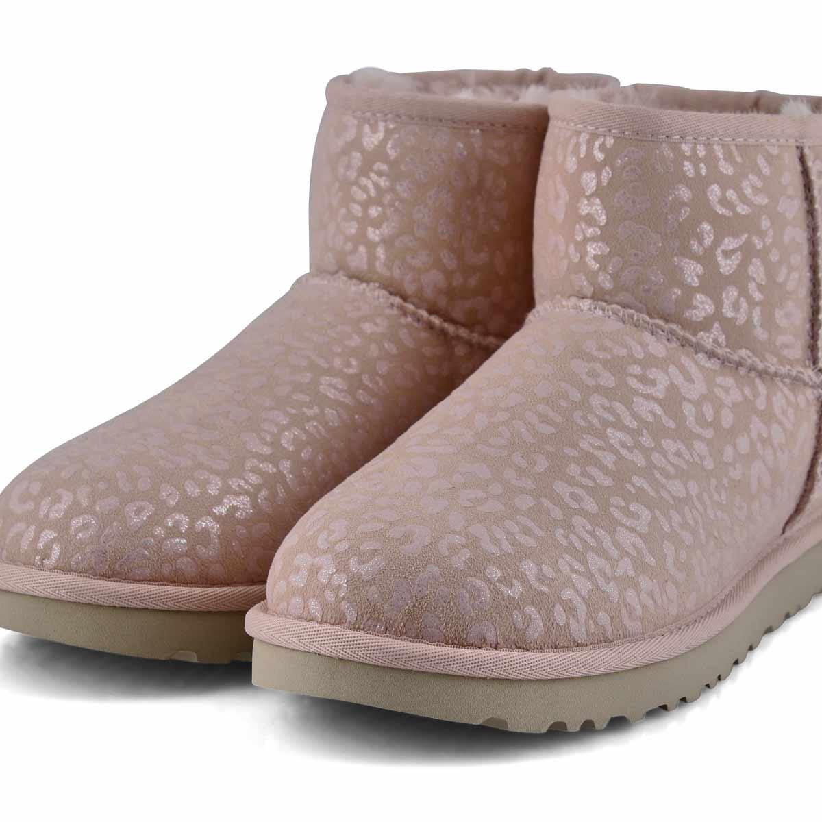 Women's Classic Mini Snow Leopard Boot - Quartz