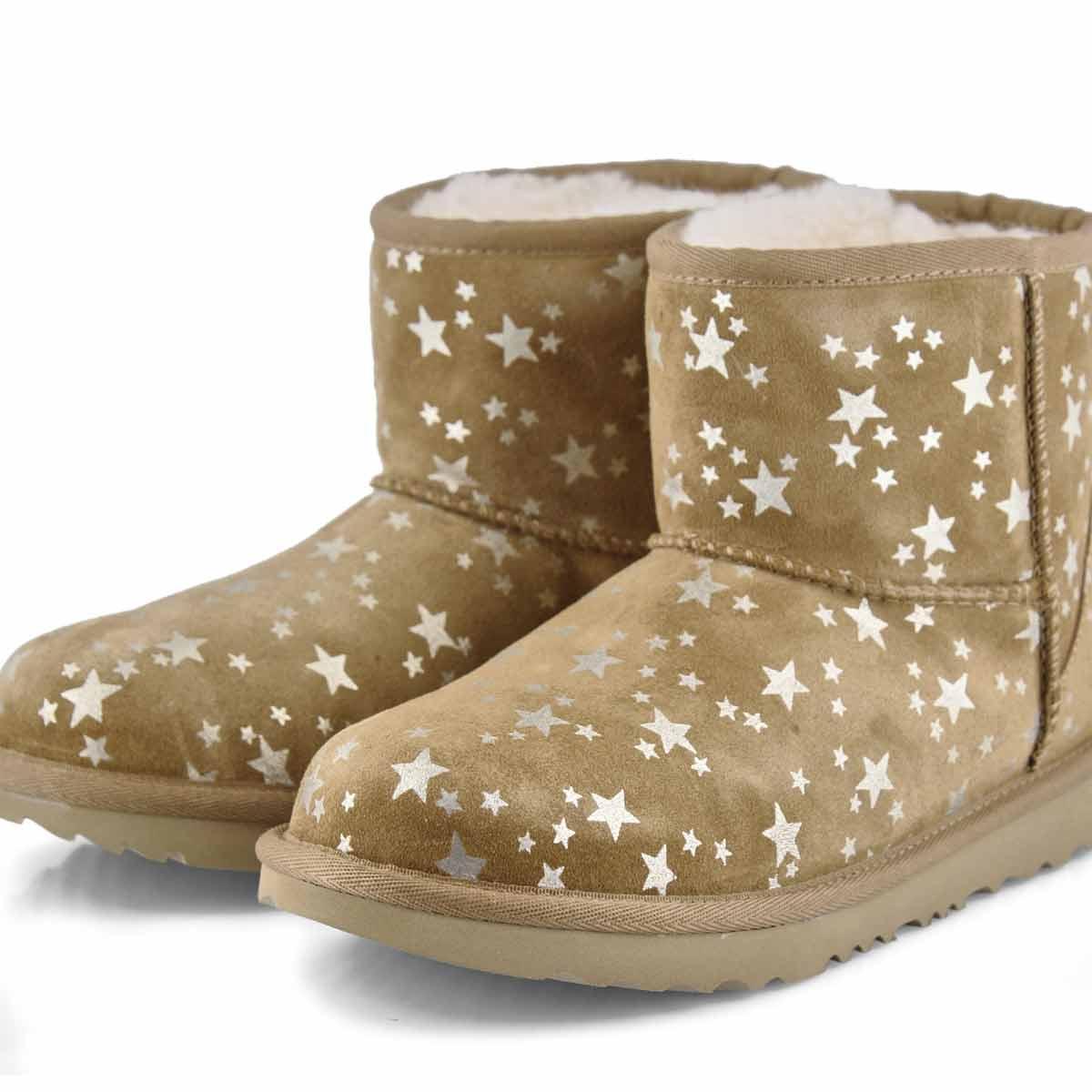 Grls Classic Mini II Stars chestnut boot