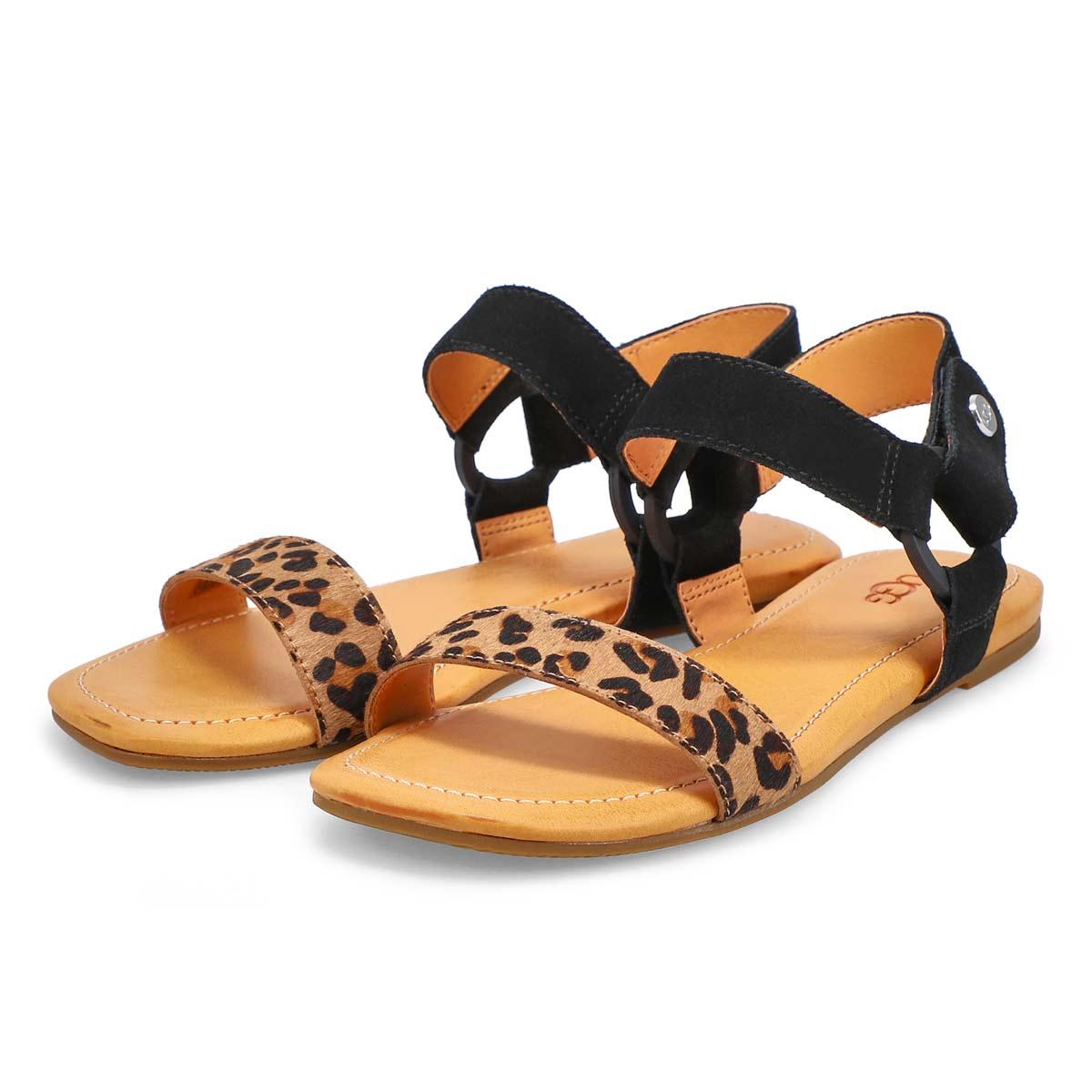 Women's Rynell Leopard Sandal - Black Tan