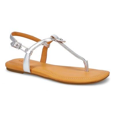 Lds Madeena silver metallic thong sandal