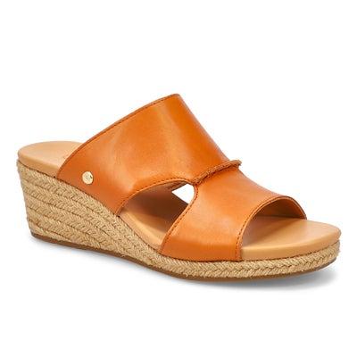Lds Eirene tan wedge slide sandal