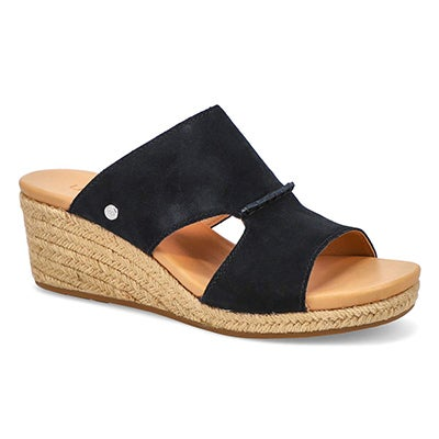 Lds Eirene black wedge slide sandal