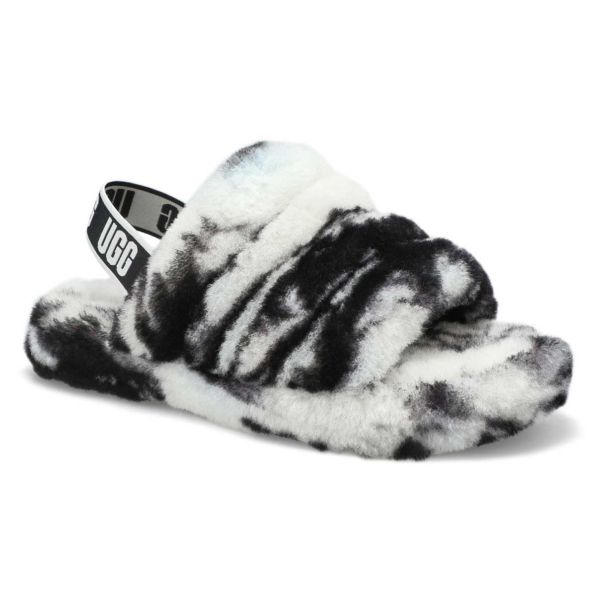 Pantoufle en mouton Fluff Yeah Marble, noir, fille