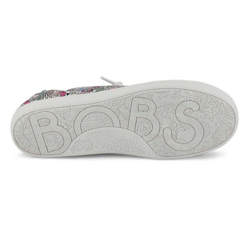 Lds BobsBeachBingo wht mlti slip-on snkr