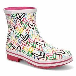 Lds Rain Check wht/mlti short rainboot