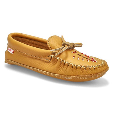 Lds Double Padded Sole Moccasin-Dk Tan