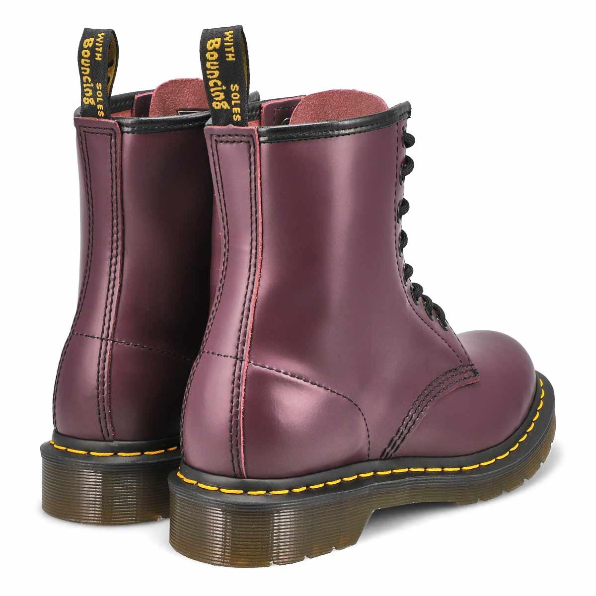 Bottes 1460 à 8 œillets, cuir lisse violet, femmes
