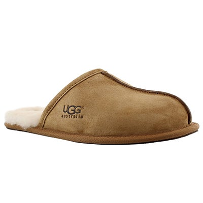 UGG Australia Men's SCUFF chestnut suede/sheepskin slippers