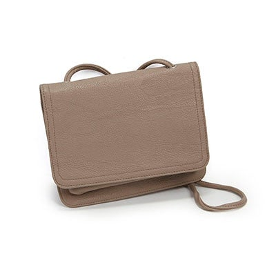 Co-Lab Women's 1211 taupe front flap cross body organizer