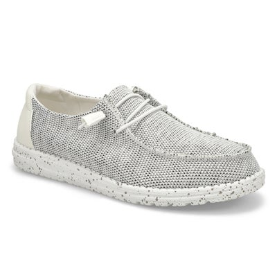 Lds Wendy Sox Casual Shoe-Stone/White