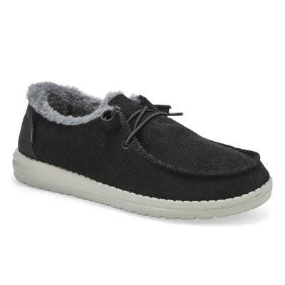 Lds Wendy Corduroy Casual Shoe- Black
