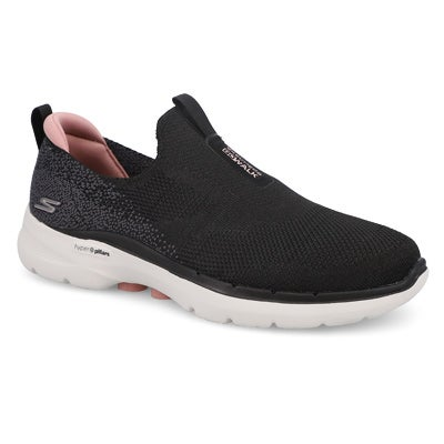 Lds Go Walk 6 Slip On-Black/Pink