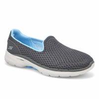 Women's Go Walk 6 Slip On Sneaker - Grey/ Blue