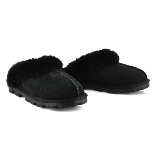 Lds Coquette black sheepskin slipper