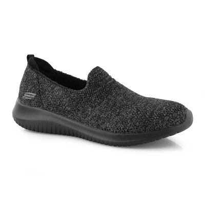 Women's ULTRA FLEX blk/char slip on sneakers