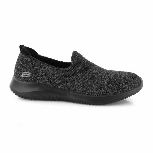 Lds Ultra Flex blk/char slip on sneaker