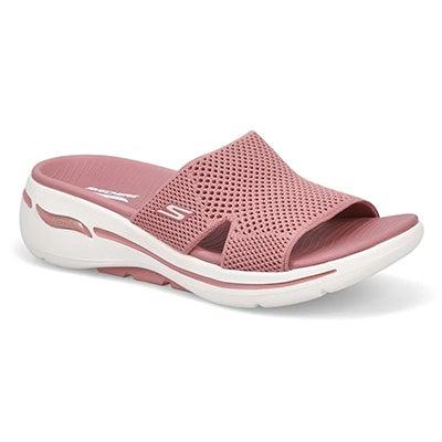 Lds Go Walk Arch Fit Slide Sandal- Rose