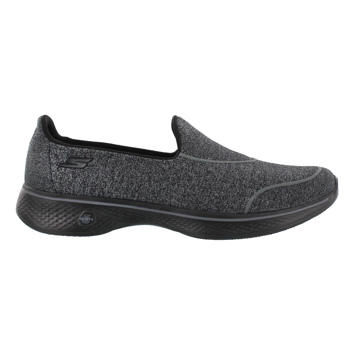 Lds GO Walk4 Super Sock blk slip on shoe