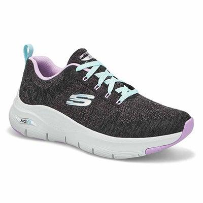 Women's Arch Fit Comfy Wave Sneaker -Blk/Lav