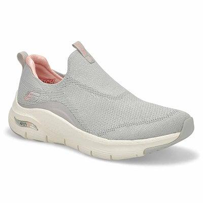 Lds Arch Fit Slip On Sneaker -Lt Gry/Pnk