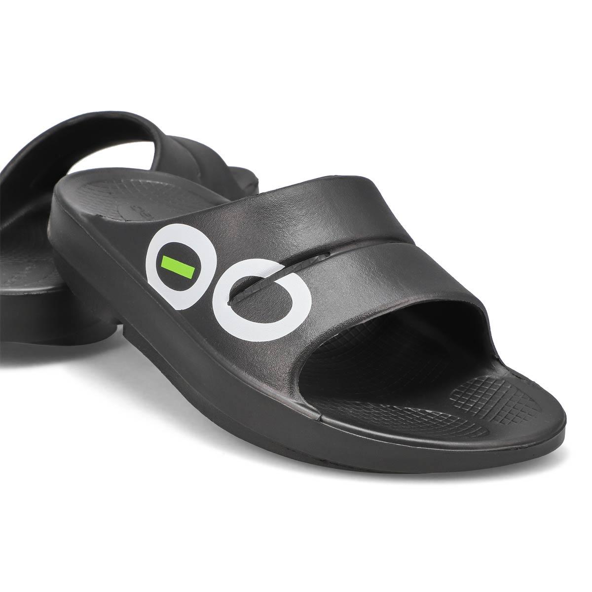 Mns OOahh Sport black/white slide sandal