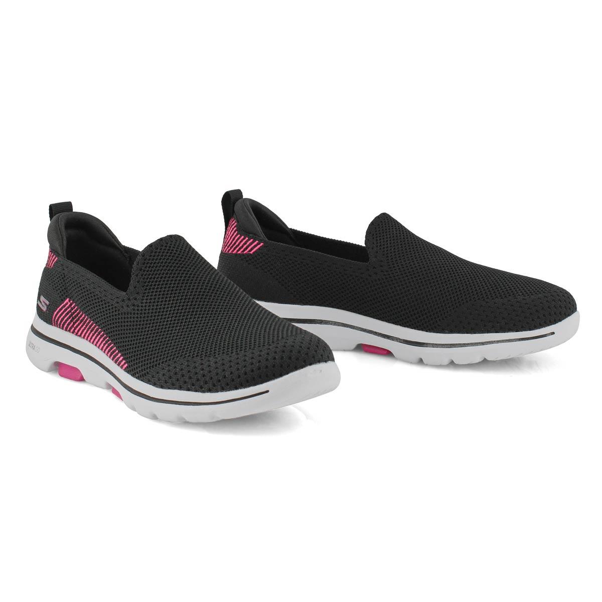 Women's Go Walk 5 Prized Shoe - Black/Pink