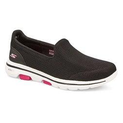 Lds GOwalk 5 black/hot pink slip on shoe