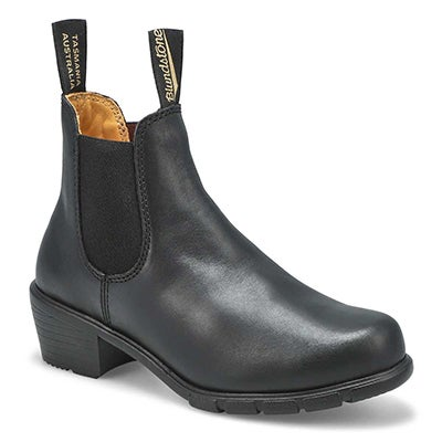 Women's 1671 block heel black pullon chelsea boots