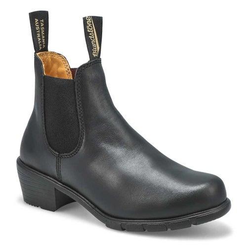 Lds block heel black pullon chelsea boot