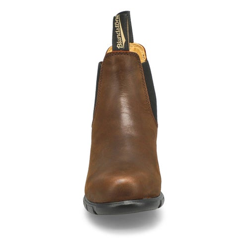 Lds block heel brown pullon chelsea boot