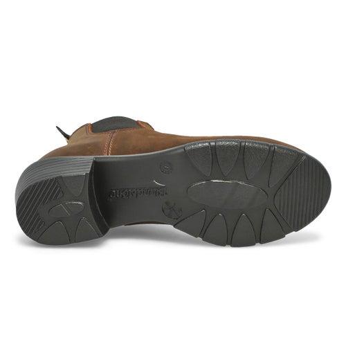 Lds block heel brown pullon chelsea boot