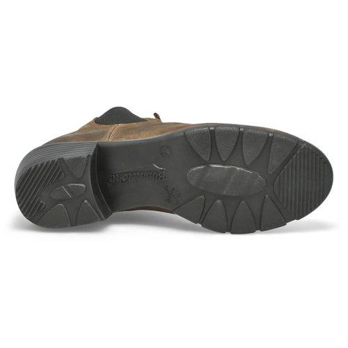 Lds Block Heel rustic brn chelsea boot