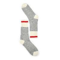 Chaussettes épaisses, mélange laine grs/blc, femme